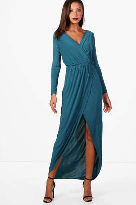 boohoo Tall Slinky Wrap Maxi Dress