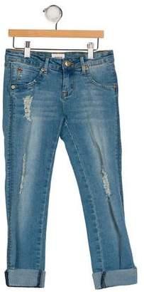 Hudson Girls' Distressed Straight-Leg Jeans
