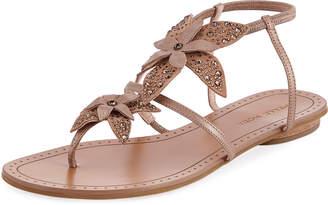 Pelle Moda Ellis Flower Flat Sandals, Walnut