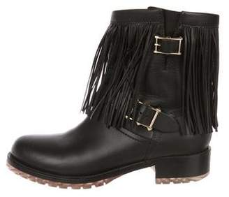 Valentino Leather Fringe Flat Boots