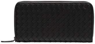 Bottega Veneta black intrecciato zip around leather wallet
