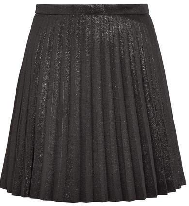 J.Crew - Sweetbriar Pleated Cotton-blend Lamé Mini Skirt - Black