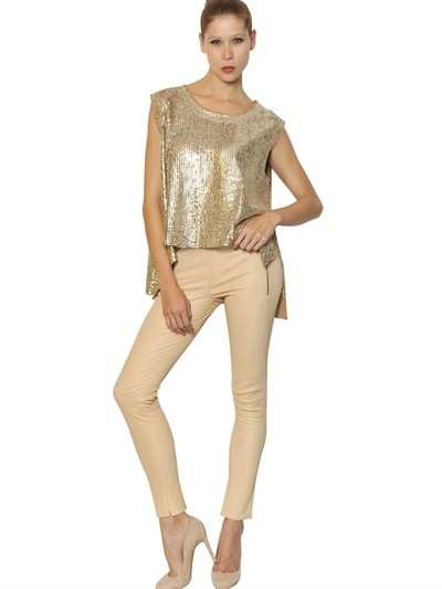 Drome Laser Cut Metallic Leather Top