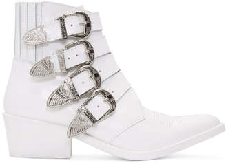 Toga Pulla White Four-Buckle Western Boots