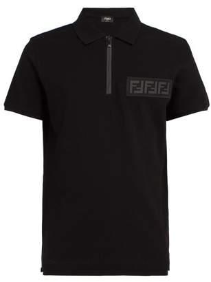Fendi Logo Applique Cotton Polo Shirt - Mens - Black