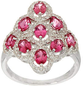 QVC Pink Spinel & White Zircon Elongated SterlingSilver Ring