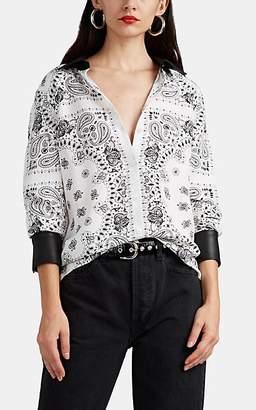 Alexander Wang Women's Leather-Trimmed Bandana-Print Silk Shirt - White
