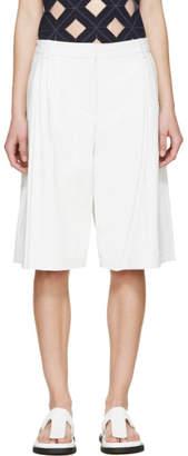 Alexander Wang White Matte Leather Wide Leg Shorts