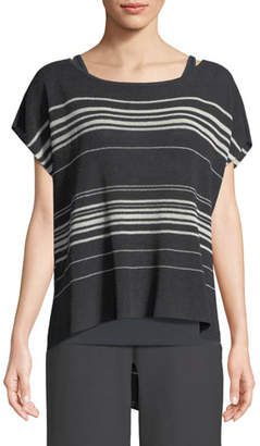 Eileen Fisher Striped Short-Sleeve Poncho Top