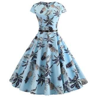 96ba3d67608 FAPIZI Dress Women Vintage 1950s Retro Dress,FAPIZI Summer Fashion V Neck  Printing Party Prom