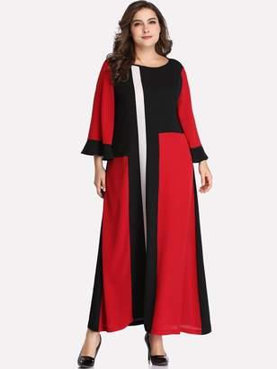 Shein Plus Color-block Flounce Sleeve Dress