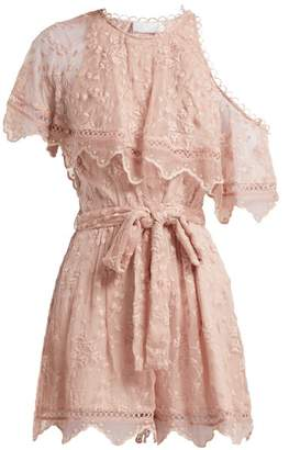 Zimmermann Castile Embroidered Silk Chiffon Playsuit - Womens - Light Pink