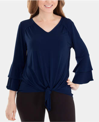 NY Collection Bell-Sleeve Tie-Front Top