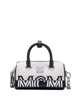 MCM Boston 18 Contrast Logo Top Handle Bag