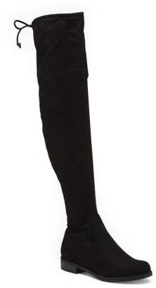 Over The Knee Flat Boots With Back Tie