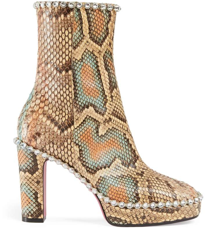 Python ankle boot with crystals