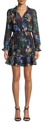 Parker Paisley Floral Long-Sleeve Ruffle Mini Dress