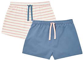 John Lewis Girls' Stripe Shorts, Pack of 2, Pink/Blue