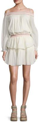 LoveShackFancy Loveshack Fancy Smocked Ruffle Mini Dress