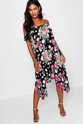 boohoo NEW Womens Polka Dot Floral Cold Shoulder Hanky Hem Dress in Black size