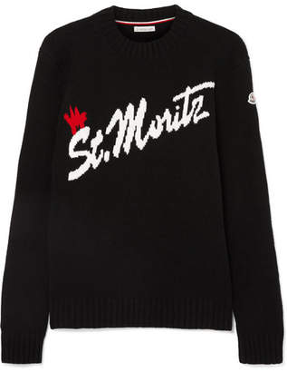 Moncler St. Moritz Intarsia Wool-blend Sweater - Black
