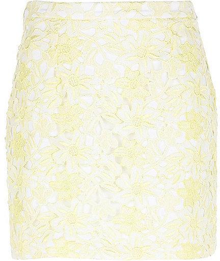 River Island Womens Light yellow lace mini skirt