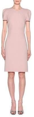 Giorgio Armani Short-Sleeve Crepe V-Neck Dress