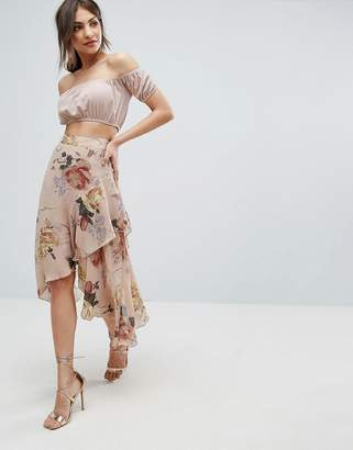 Missguided Floral Printed Ruffle Midi Skirt