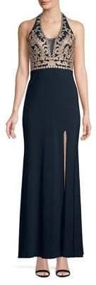 Blondie Nites Embroidered Leg Slit Evening Gown