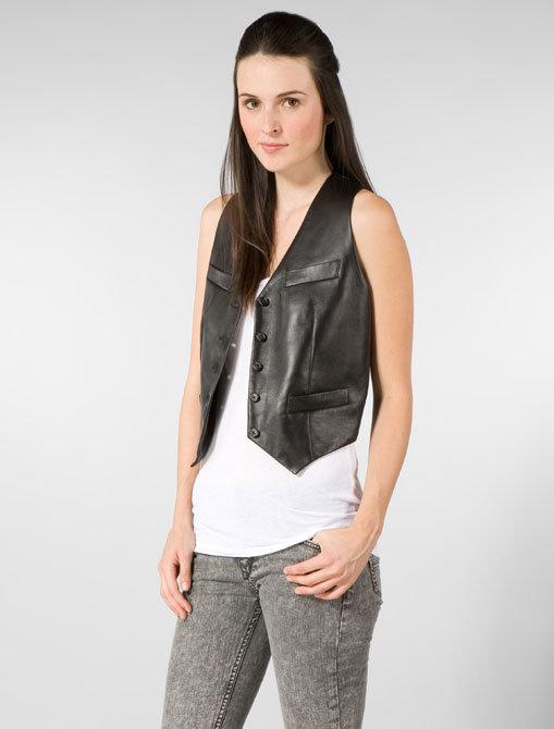 Members Only Menswear Leather Vest in Black