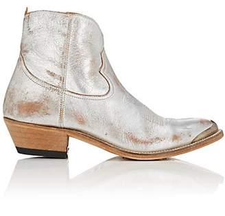 Golden Goose Women's Young Distressed Leather Ankle Boots - Silver