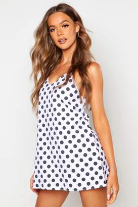 boohoo Cotton Polka Dot Woven Slip Night Dress