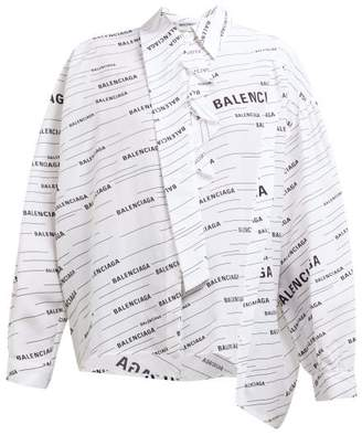Balenciaga Striped Logo Print Silk Blouse - Womens - White Multi