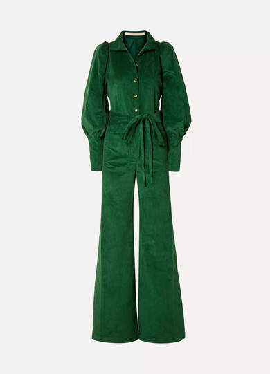 Anna Mason - Jane Belted Cotton-corduroy Jumpsuit - Emerald