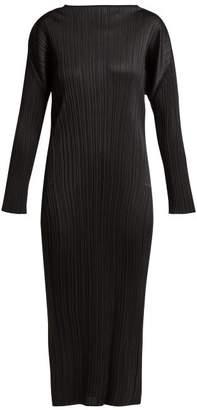 Pleats Please Issey Miyake Pleated Long Sleeved Midi Dress - Womens - Black
