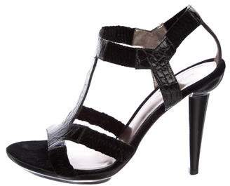 Bottega Veneta Embossed T-Strap Sandals