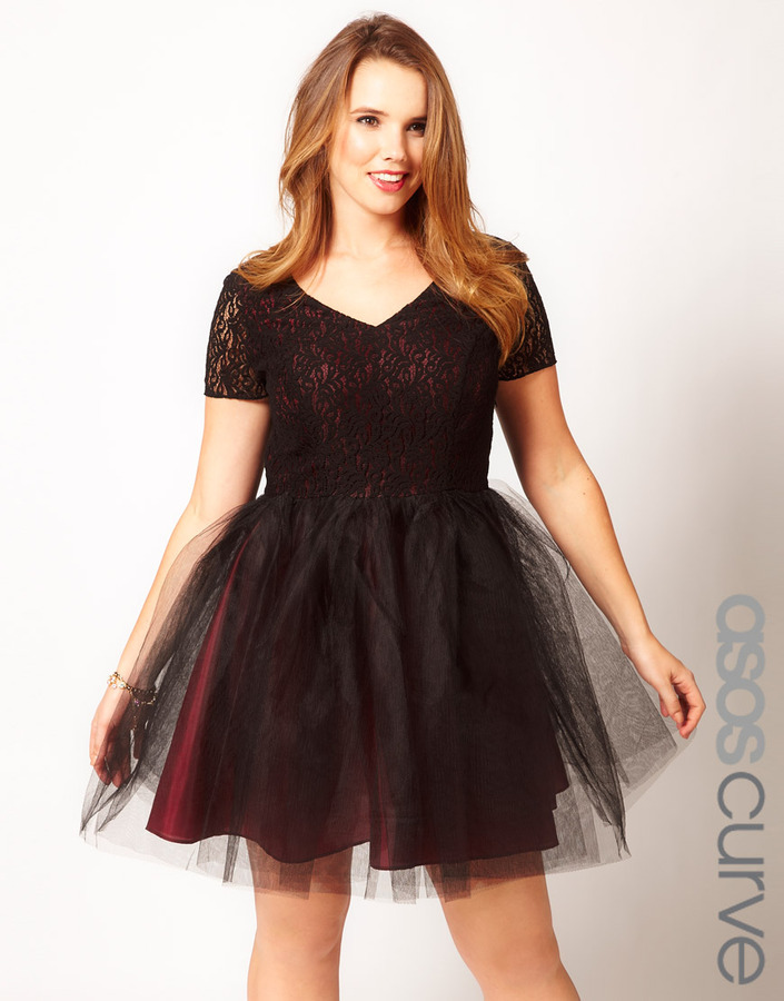 Asos Exclusive Lace Dress With Tutu Skirt