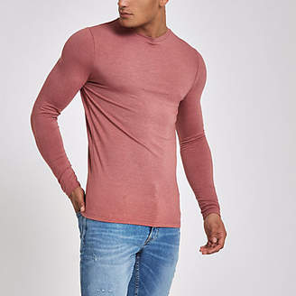 River Island Mens Light pink muscle fit long sleeve T-shirt