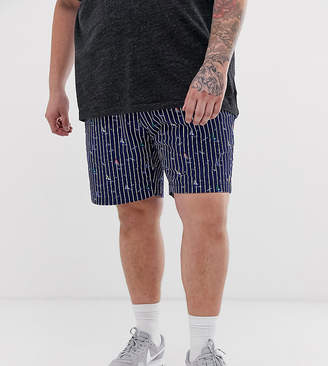 Polo Ralph Lauren Big & Tall Prepster player logo stripe sailboat print chino shorts in navy