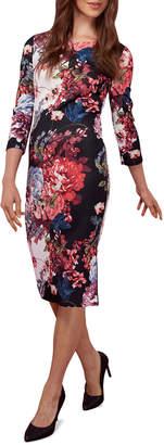 Label By 5twelve Floral-Print Scuba 3/4-Sleeve Dress W/ Side Zip
