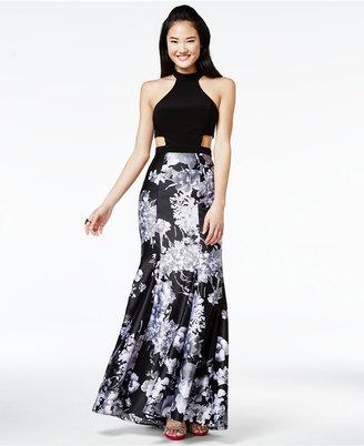 Blondie Nites Juniors' Printed Cutout Mermaid Gown $189 thestylecure.com
