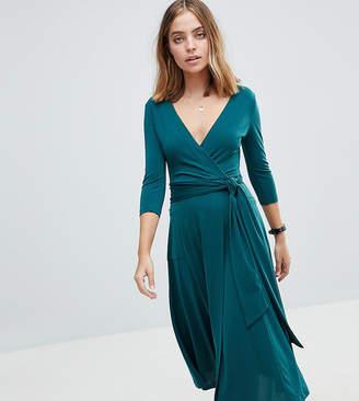 Asos Crepe Wrap Midi Dress