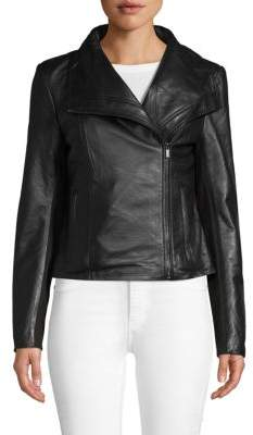 Badgley Mischka Envelope Collar Leather Jacket