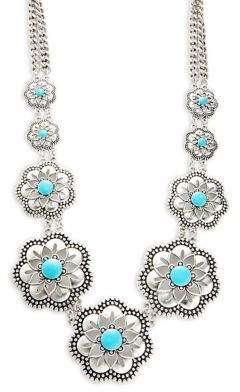 Lord & Taylor Design Lab Silvertone Floral Statement Necklace