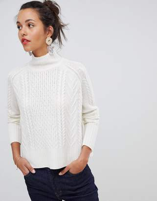 Whistles cable knit funnel neck sweater