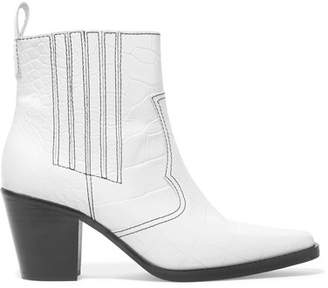 Ganni Callie Croc-effect Leather Ankle Boots - White