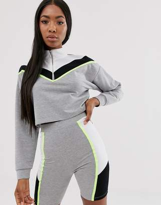 Asos Design DESIGN lounge zip sweat and legging short set with neon piping