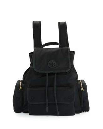 Tory Burch Scout Nylon Flap Backpack, Black $295 thestylecure.com