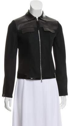 Prada Leather-Trimmed Zip-Up Jacket