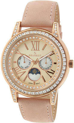 Peugeot Womens Crystal-Accent Pink Leather Strap Moon Phase Watch